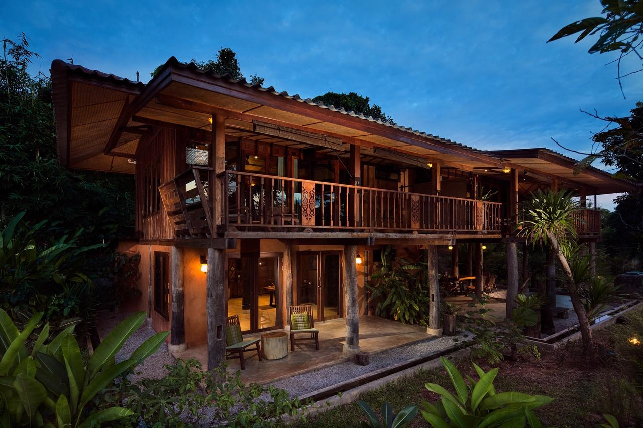 ... Private Bathroom And Private Terrace/balcony In Our Two Traditional  Wooden Longhouses On Stilts Situated At The Lower Part Of Our Large  Tropical Garden.