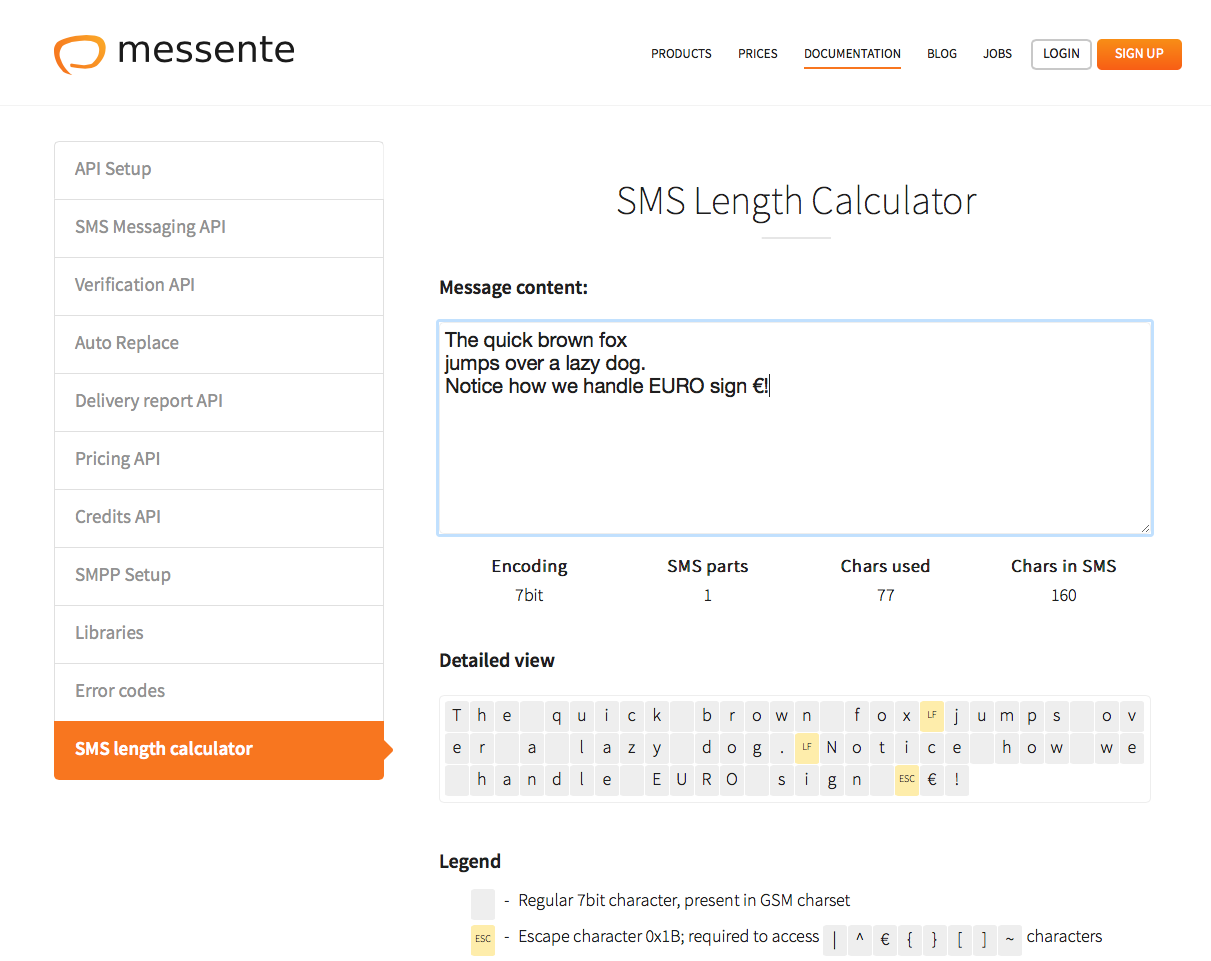 Sms Length Calculator Messente