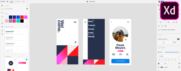 Interface d'Adobe XD