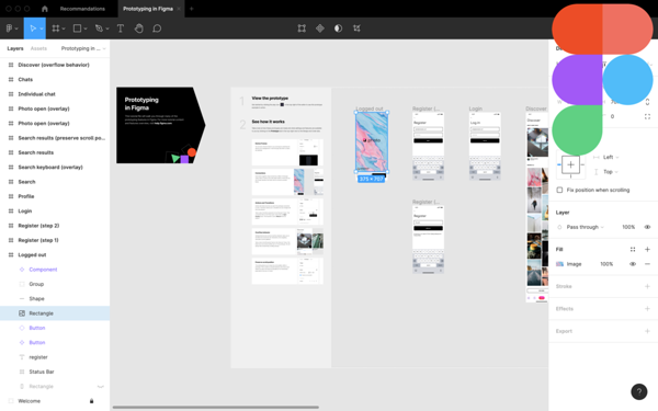 Interface de Figma, outil de prototypage