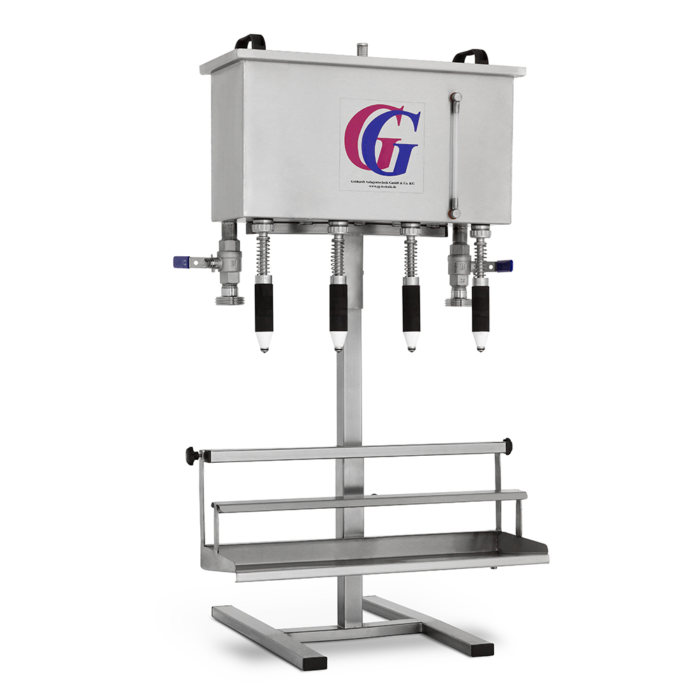 gravity filler for bottles with 2/3/4/6 filling valves