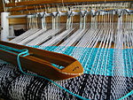 Railreed on the loom with cotton warp 4 ends per slot