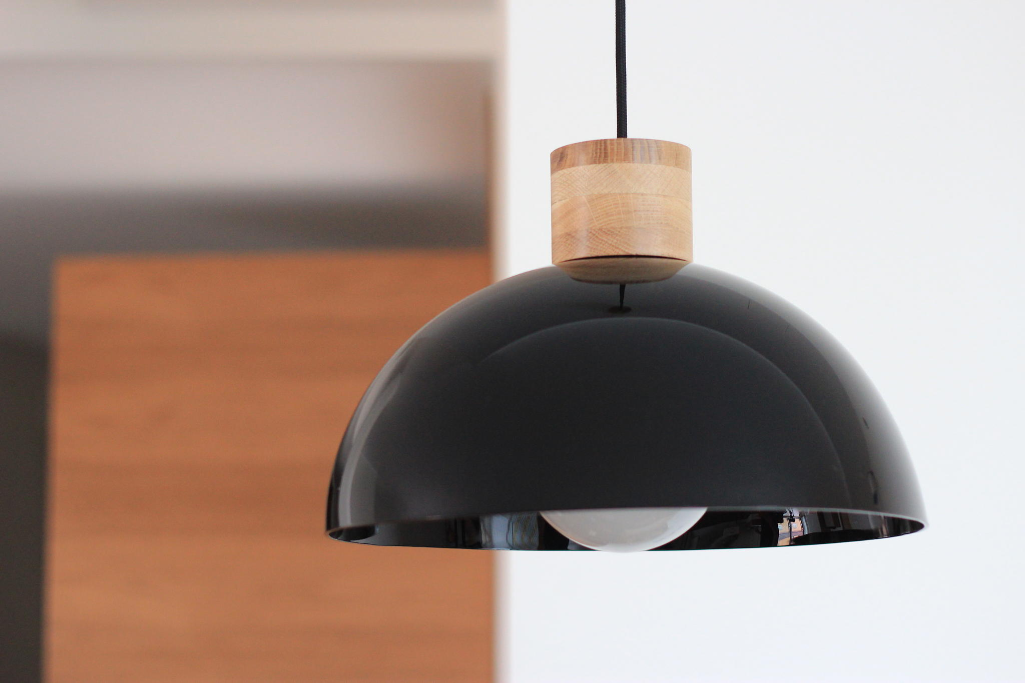 cb2527780cb Materials: oiled laminated oak wood and plastic, textile cord 2 m.  Dimensions: lamp H240mm x D350mm, ceiling cup H55mm x D90mm. Socket: E27.