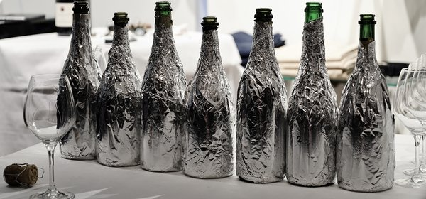 Champagne bottles at blind tasting
