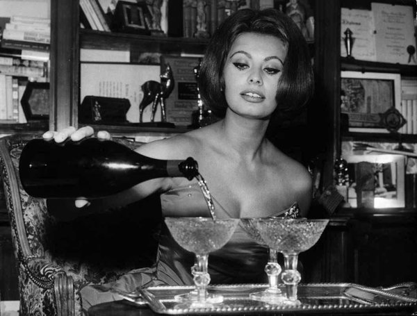 Sophia Loren and champagne in 1963