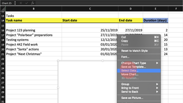 Selecting right data to Excel Stacked Bar to get it into Gantt Chart