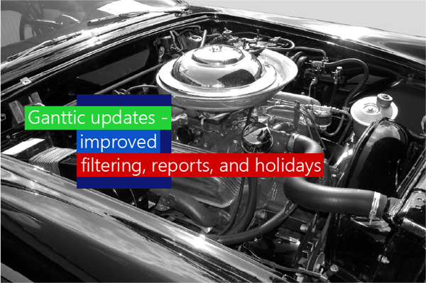 Ganttic updates - Improved filtering, reports, and holidays