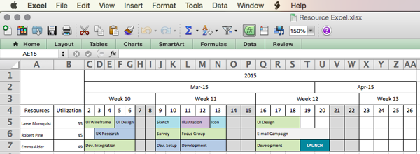 excel resource management plan example
