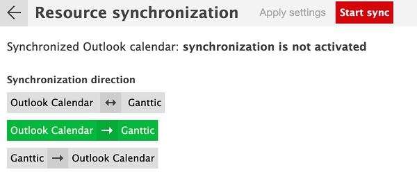 Choose what kind of synchronization you want for your calendar, one way or two way sync.