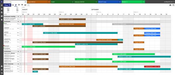 Ganttic's Gantt charts are can show all your projects and tasks plus the resources attached.