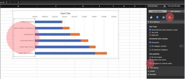 Reverse data on Stacked Bar to make it look a bit more like Gantt Chart