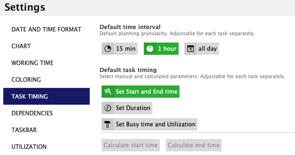 In Ganttic Resource Management Softwate You can choose your preferred scheduling settings