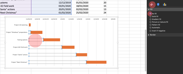 Removing part of stacked bar coloring to have the Gantt Chart look.