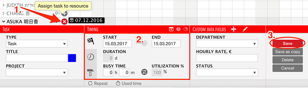 selecting task's start and end time