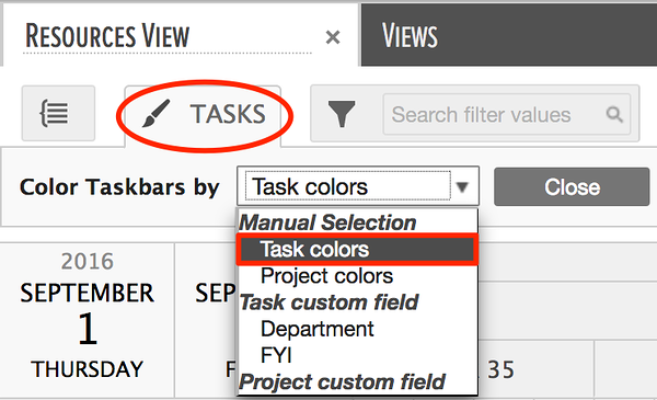 coloring gantt charts using task colors in the gantt chart area