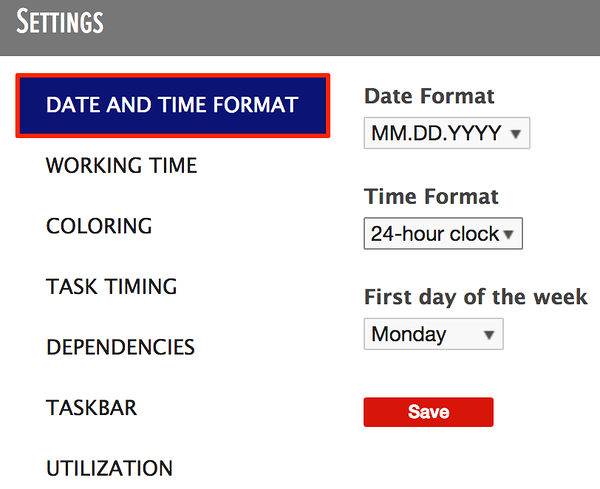 the date and time format in the general settings of the planner