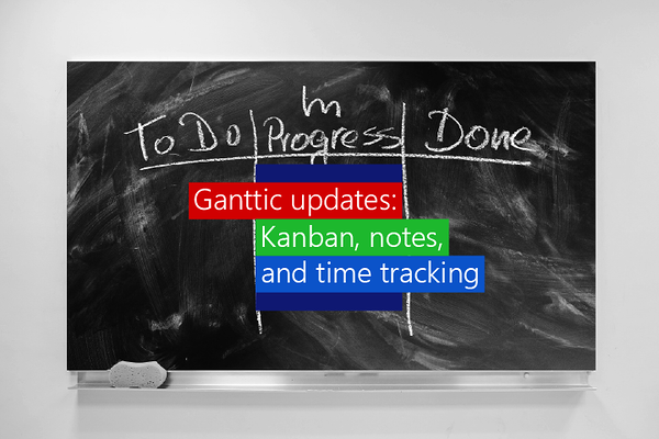 Ganttic update with new Kanban board feature for project views and varied project planning, an update to your Notes in resources, tasks, and projects, and better time tracking capabilities in Used time.