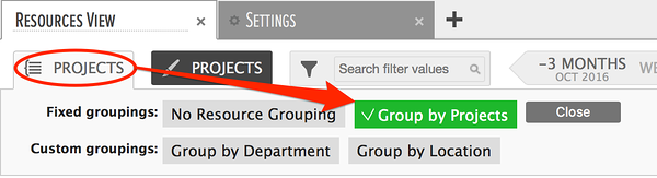 grouping resources by projects