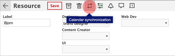 Resource dialog window in Ganttic, in red you will find the Calendar synchronization icon.