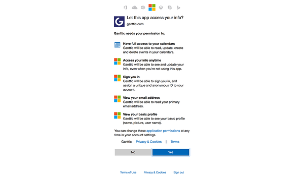gratning access for ganttic to outlook calendar