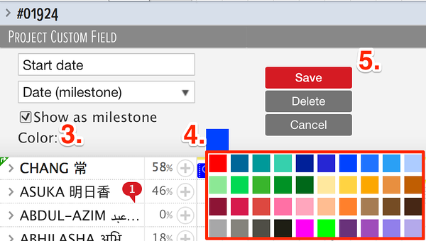 selecting milestone color