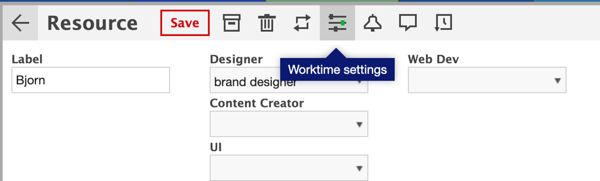 Resource worktime settings can be found by clicking on the individual resource.