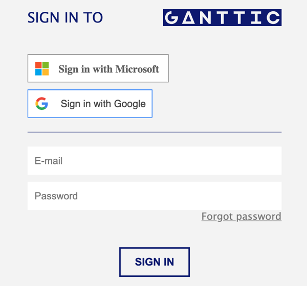 Ganttic sign in screen now let's you choose to sign in with Microsoft if you have MS Azure