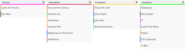 A simple Kanban board created in Ganttic. Here you can see which projects are still in the planning stages, which are in progress, which projects were interrupted, and what's been completed.