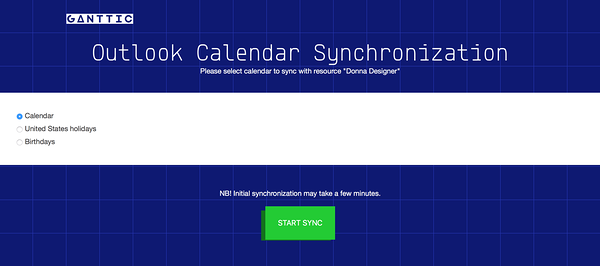 outlook calendar gantt charts synchronization