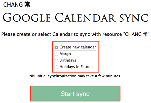 Select Google Calendar to sync with