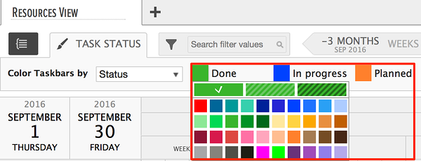selecting colors for gantt charts