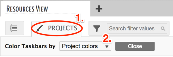 tasks colored by projects in the gantt chart area