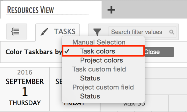 tasks colored by task colors in gantt chart area