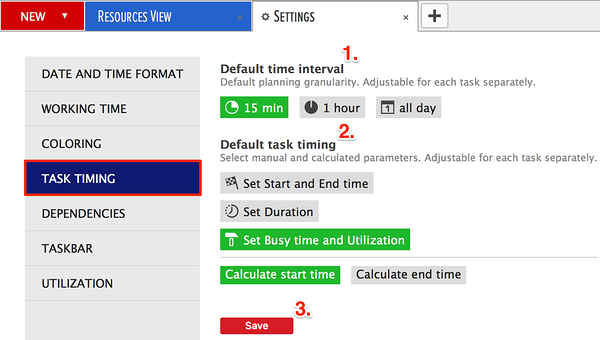 task timing options in the scheduler
