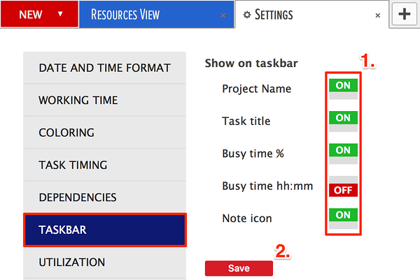 taskbar information in the gantt chart area