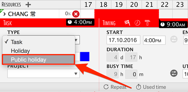 adding public holidays to the resource planning software