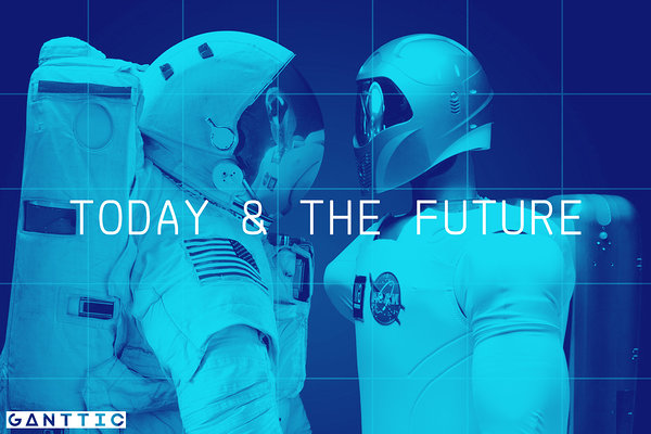 today and the future illustrated with astronauts