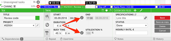 switching between start and end date, and busy time and utilization