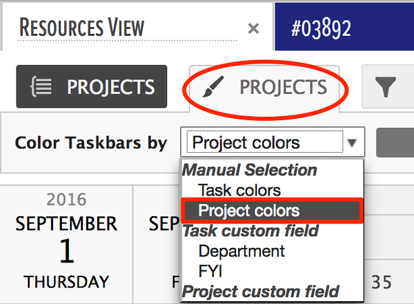 color gantt charts using project colors in the gantt chart area