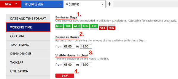 selecting general business days and hours for planning resources
