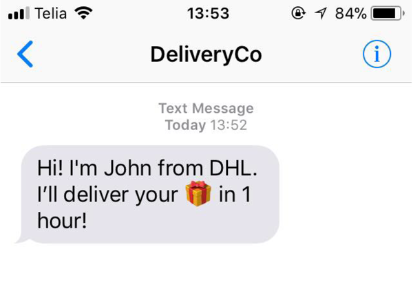 Gift package emoji in a package delivery notification SMS