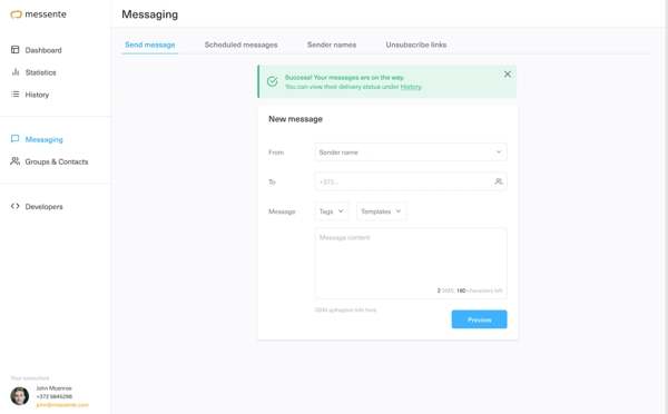 Messente Messaging Tool