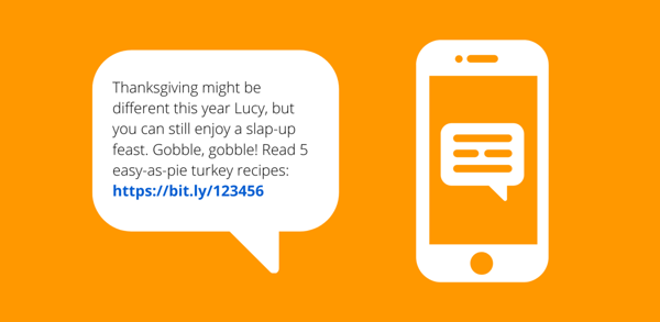 Thanksgiving business text message example