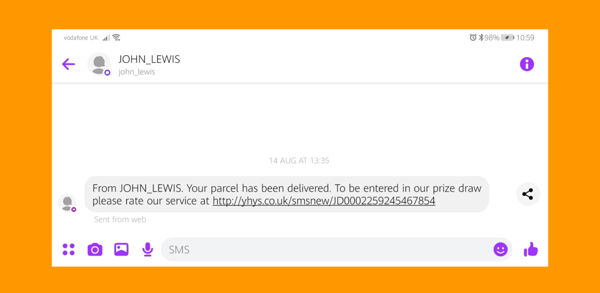 Example of John Lewis SMS marketing