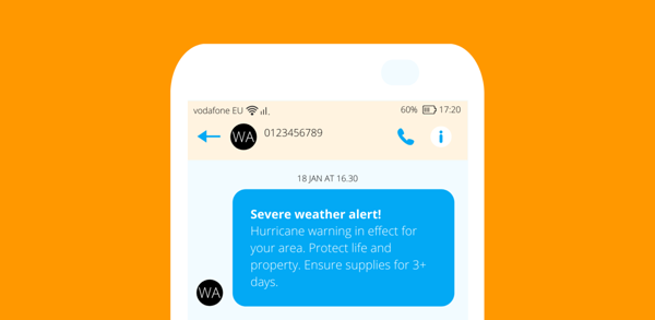 Weather alert text example