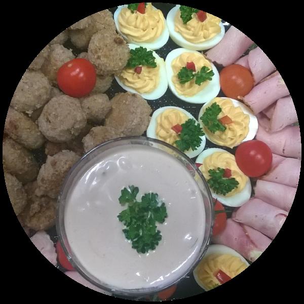 36de36c2e38 Näksivaagen (1kg) 23.00€ Lihapallid, singirullid, täidetud munad, frillise  salat, kirsstomatid, külm kaste