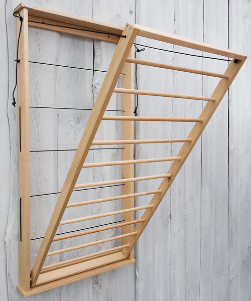 Pesuliisu wooden wall mounted drying rack - can be opened up to 80 degrees.