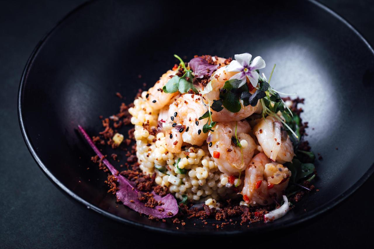 Shrimp salad with couscous
