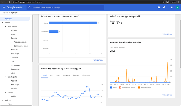Google Admin Console Reports screenshot