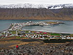 Ísafjörður, in foregroung Veiga playing with the drone, in the back Arktika entering the harbor